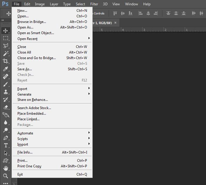 bảng phím tắt file trong photoshop