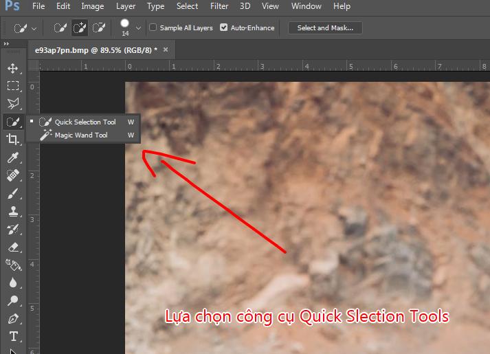 lua chon cong cu lam mo anh trong photoshop quick selection tool